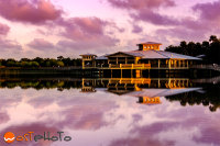Visitor center of the Green Cay Nature Center and Wetlands with calm lake in sunset in Delray Beach, Florida, USA