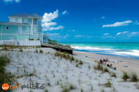 Turquoise house at the sandy beach in Vero Beach, Florida, USA