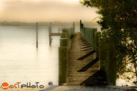Wooden landing stage in the late afternoon in Vero Beach, Florida, USA