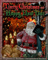Santa Claus on lamp post composite for Christmas Card