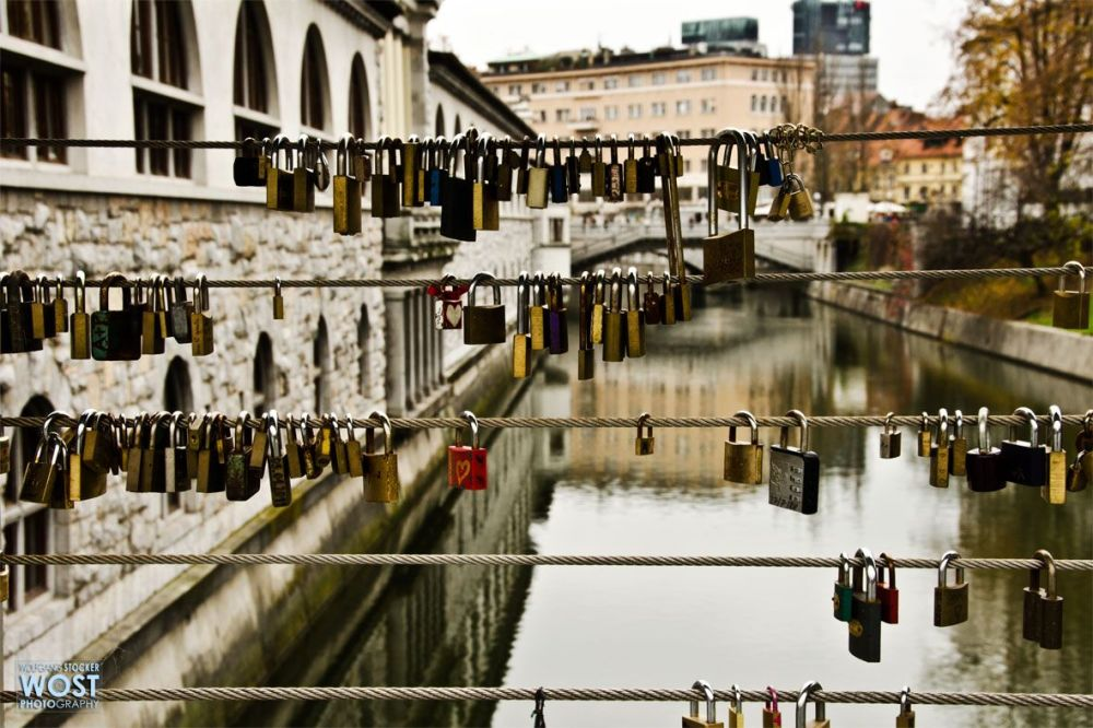 Love-locks on a bridge in Ljubljana, Slovenia