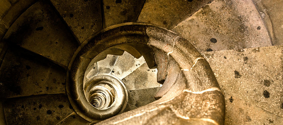 Circular staircase inside the Sagrada Familia in Barcelona, Spain