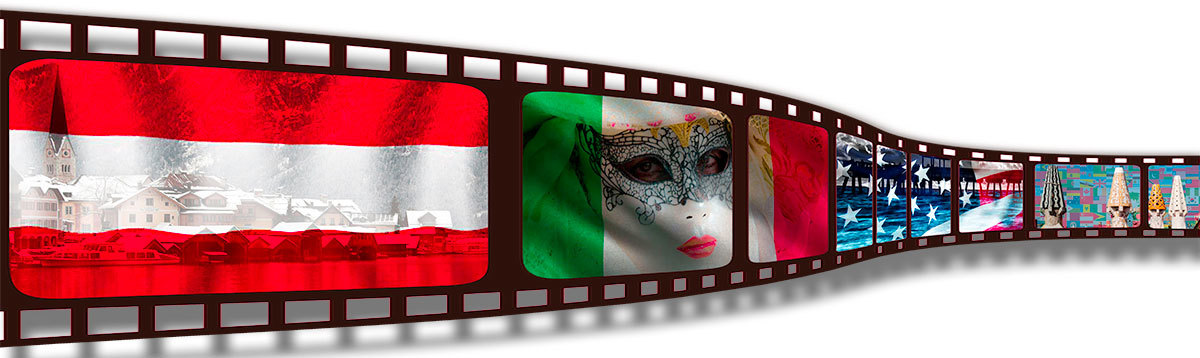 Filmstrip with composites of Austrian, Italian, USA and World flag