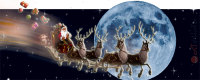 Composite of Santa Clause on its sleigh speeding through the universe passing the full moon