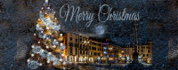 Composite of Christmas in Udine with the Christmas tree and the Christmas market at Piazza San Giaccomo