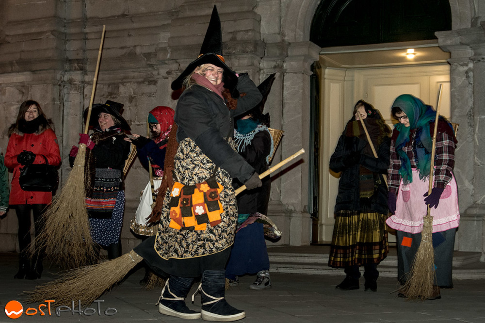Women dressed as witches in Feletto, Italy for the celebration of La Befana