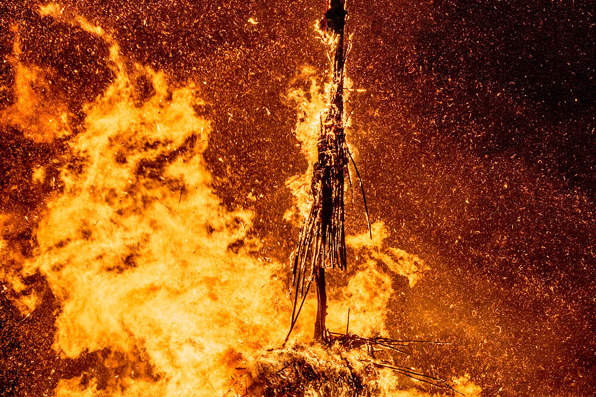 Burning the witch in a bonfire in Basiliano-Vissandone in Italy to celebrate a traditional Pignarul