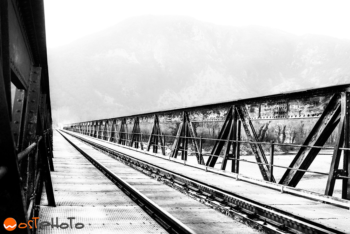 Iron railroad bridge in Friaul, Italy in winter