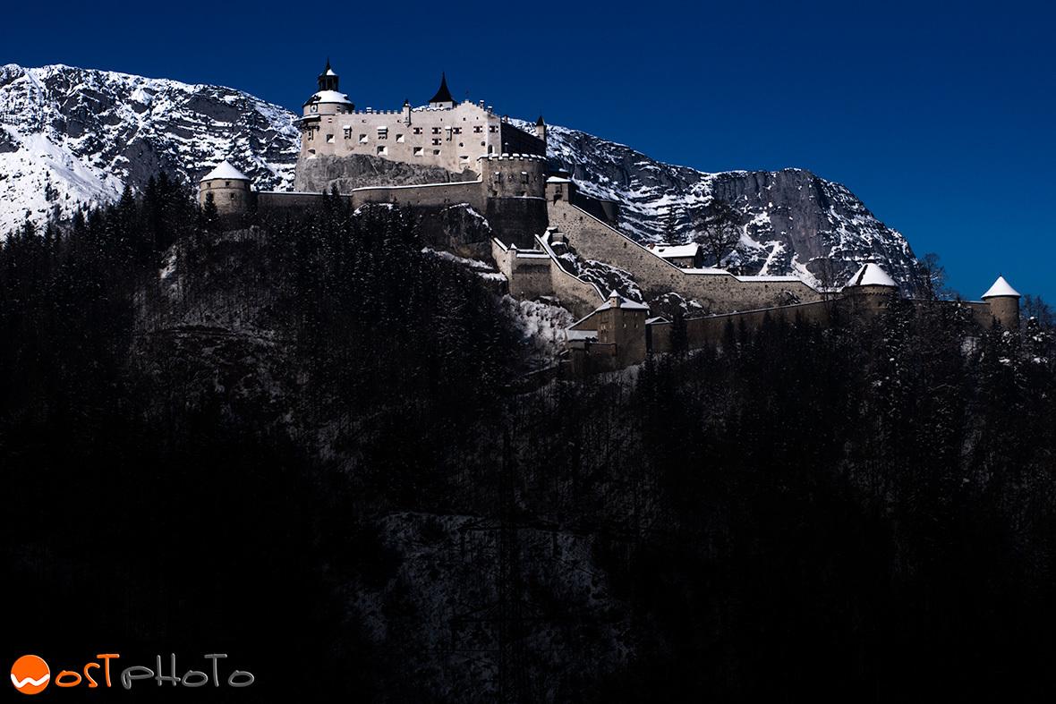 Austrian Castle Hohenwerfen in Werfen, Salzburg in winter