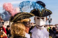 wostphoto, Masks in traditional clothes posing at the Carnival in Venice 2017