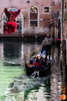 wostphoto, Carnival in Venice 2017 composite of gondola with masks all around