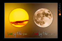 Composite card showing the sun next to the moon with quote