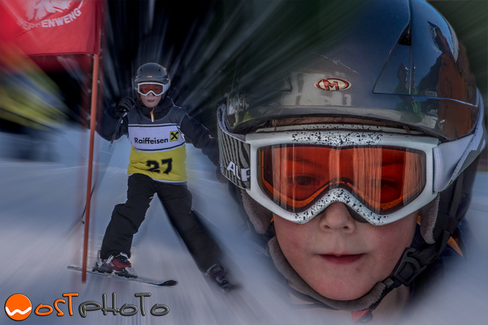 Little boy skiing plus headshot