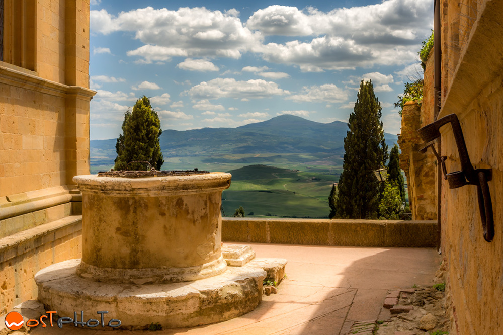 View into the country from Pienza, Val d'Orcia in Tuscany/Italy