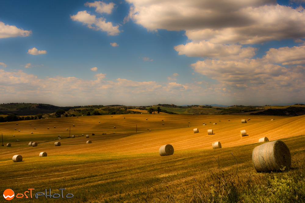 Farmland with hay balls in Val d'Orcia in Tuscany/Italy