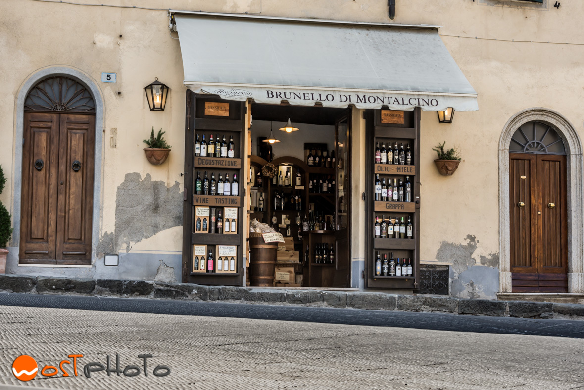 Wine store in the city of Montalcino, Val d'Orcia in Tuscany/Italy