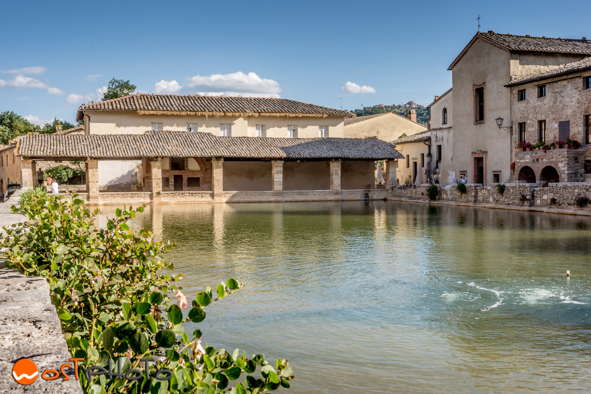 The hot pool at the main square of Bagno Vignoni in Val d'Orcia, Tuscany/Italy
