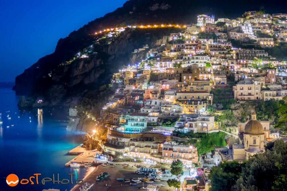 Positano, Amalfi coast in Italy by night
