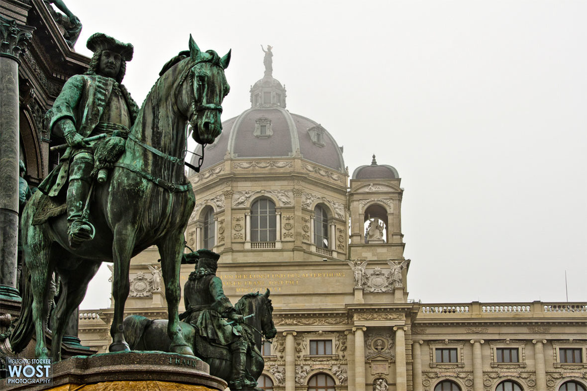 Horseman on horse sculpture in Vienna, Austria