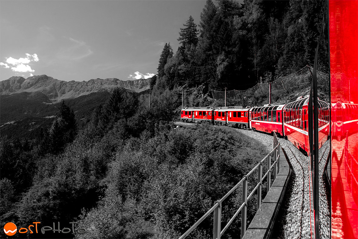 Bernina Express crossing the Swiss Alps
