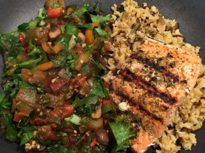 Ratatouille and Grilled Salmon.