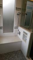 Tile Bench in Shower and Tiled Built-In Shelves