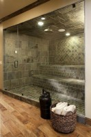 Steam shower with frameless glass enclosure.