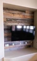 Reclaimed Wooden Accent Wall with Flat Screen TV Installed