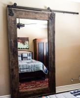 Rustic Barn Door with Framed Mirror