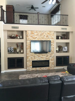 Stone TV and Shelving Unit