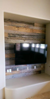 Reclaimed wooden accent wall