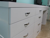 Custom White Modern Desk with Attached Dresser