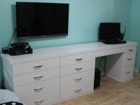 Modern White Desk with Attached Dresser. High-Gloss Finish.