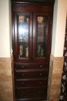 Bathroom Custom Built-in Stained Cabinet