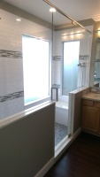 White Subway Tile with Glass Inlay