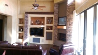 Stone and Drywall Built-in Entertainment Center