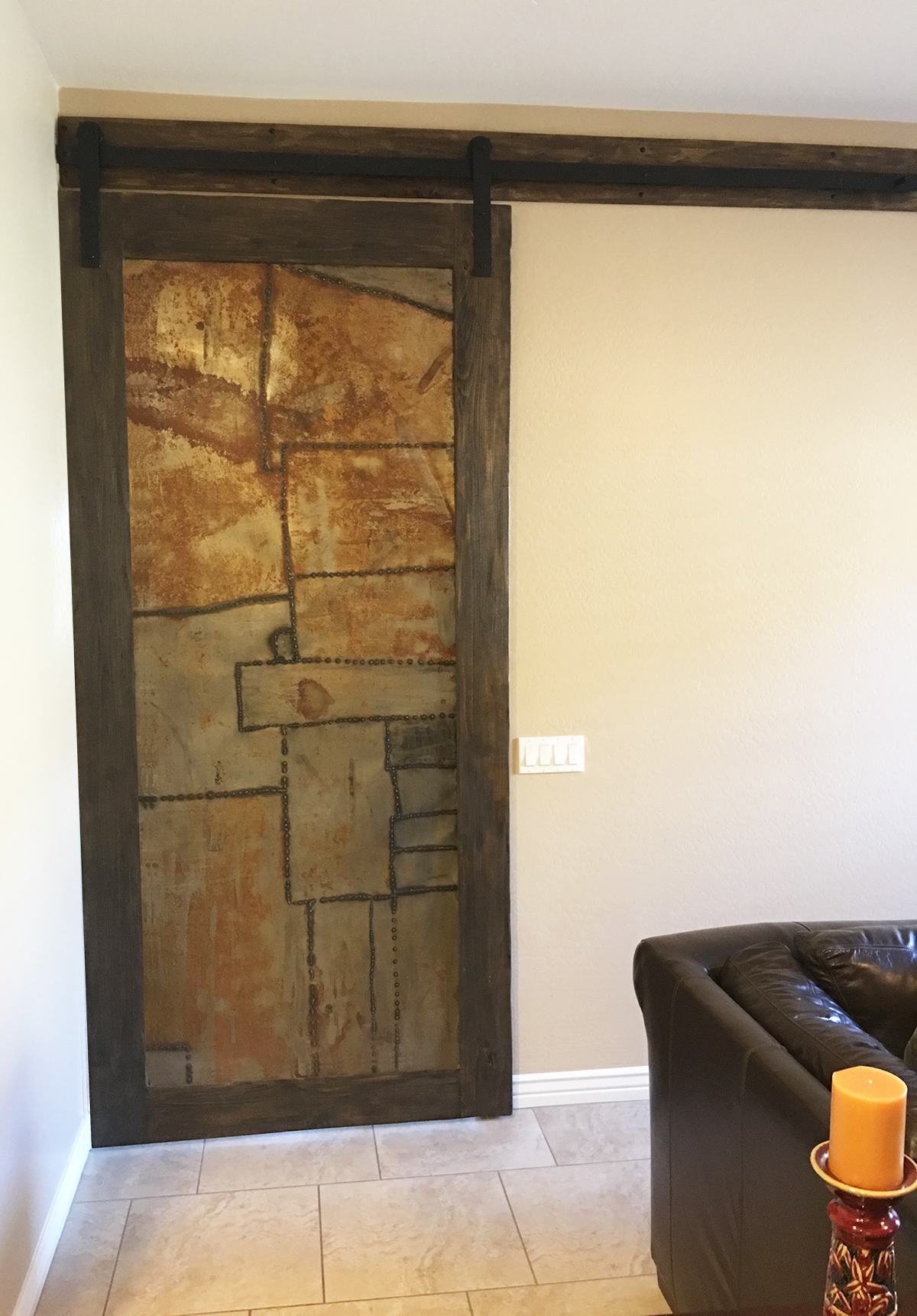 Wood and Distressed, Rusted Metal Barn Door.