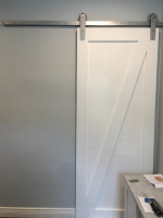 White Barn Door with a Clean Modern Finish