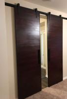 Custom Sliding Dark Wooden Double Barn Door