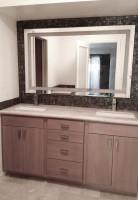 Retro, modern and earthy bathroom vanity remodel.