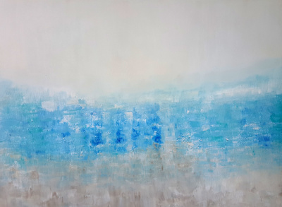 blue art, waterscape, original textured painting