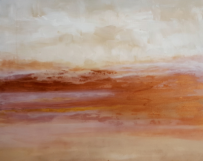 art under $500, copper metallic painting, landscape art