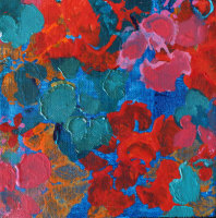 Bright floral art on canvas