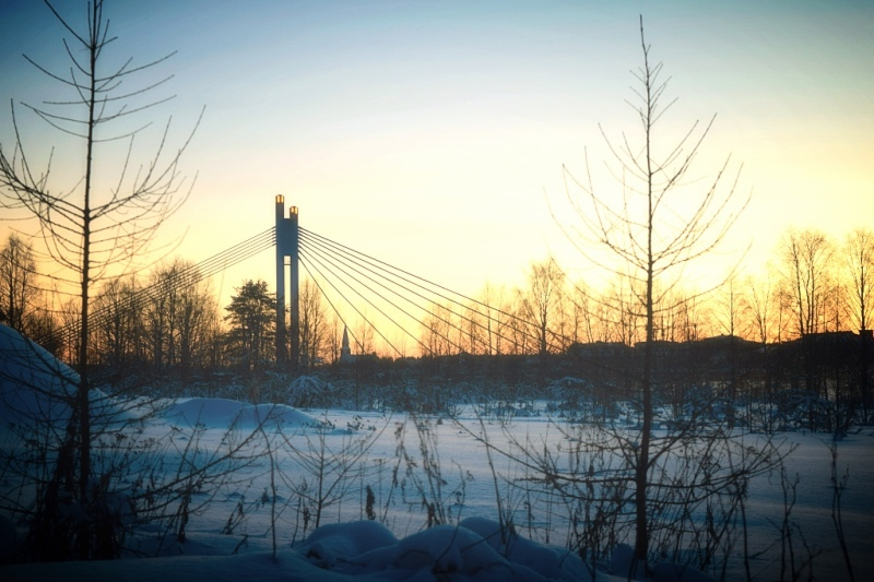 Sunset over the bridge in Rovaniemi