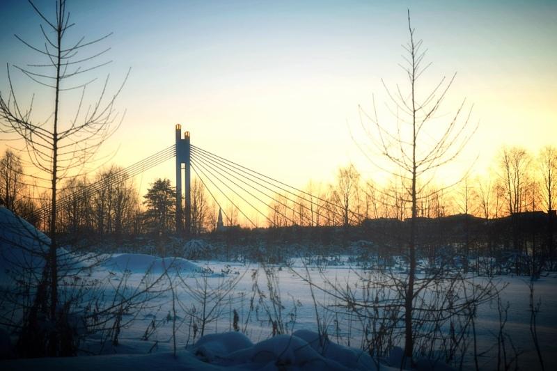 Sunset over the bridge in Rovaniemi