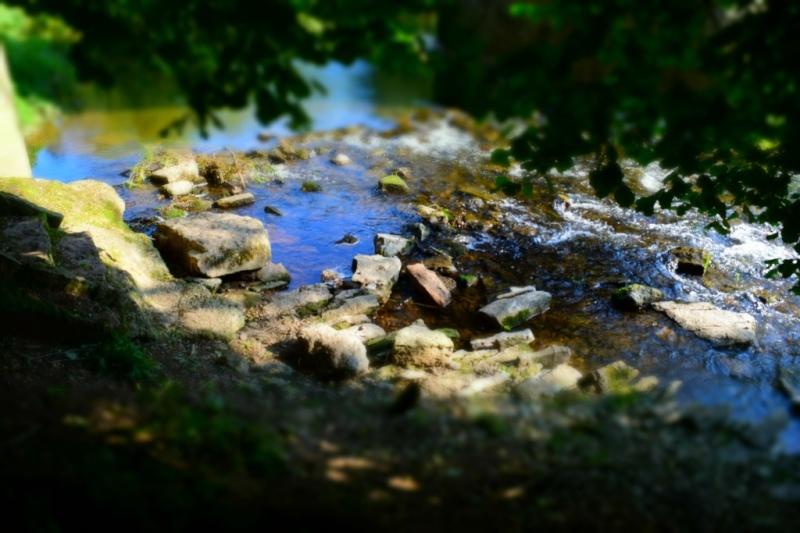 A river splashing sofltly on rocks