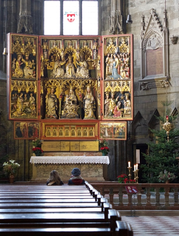 Inside St Stephen cathedral in Vienna