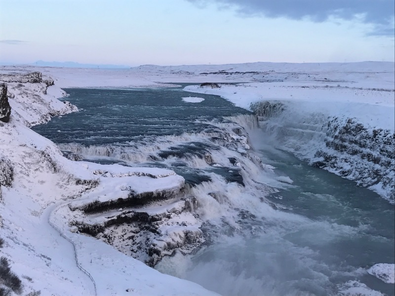Gullfoss waterfall in january ice