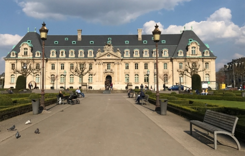 """The former Arbed """"castle"""" in the quartier gare in Luxembourg"""