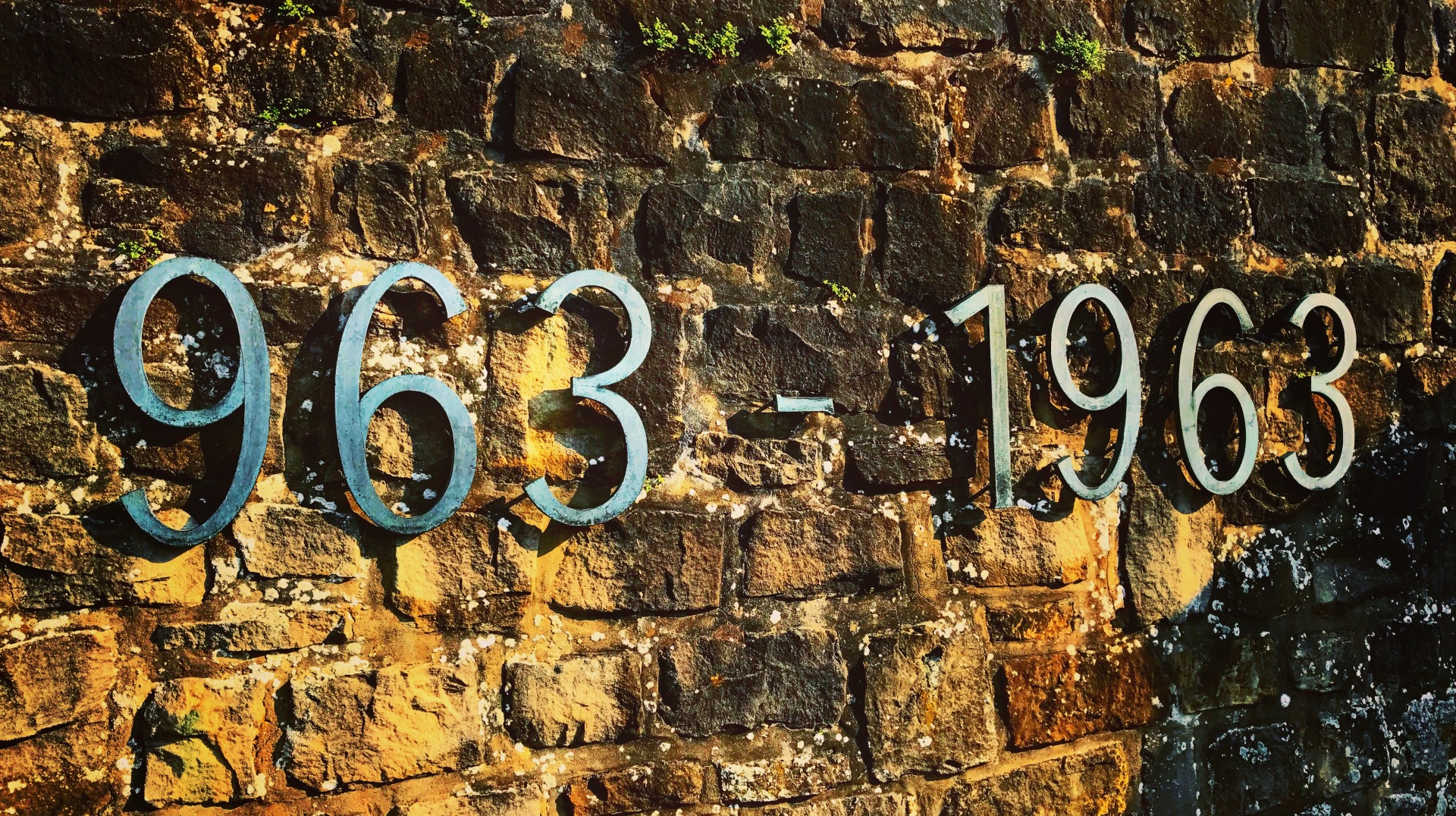 An inscription on the Bock promontory in Luxembourg City, commemorating a thousand years of History.